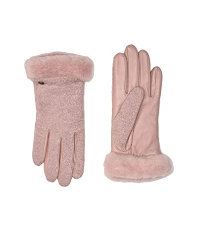 UGG Fabric Leather Shorty Tech Gloves with Sherpa Lining (Pink Crystal) Extreme Cold Weather Gloves