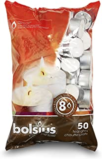 Bolsius 8 Hour Burning Tealights, Pack of 50, White, 7x18x32 cm