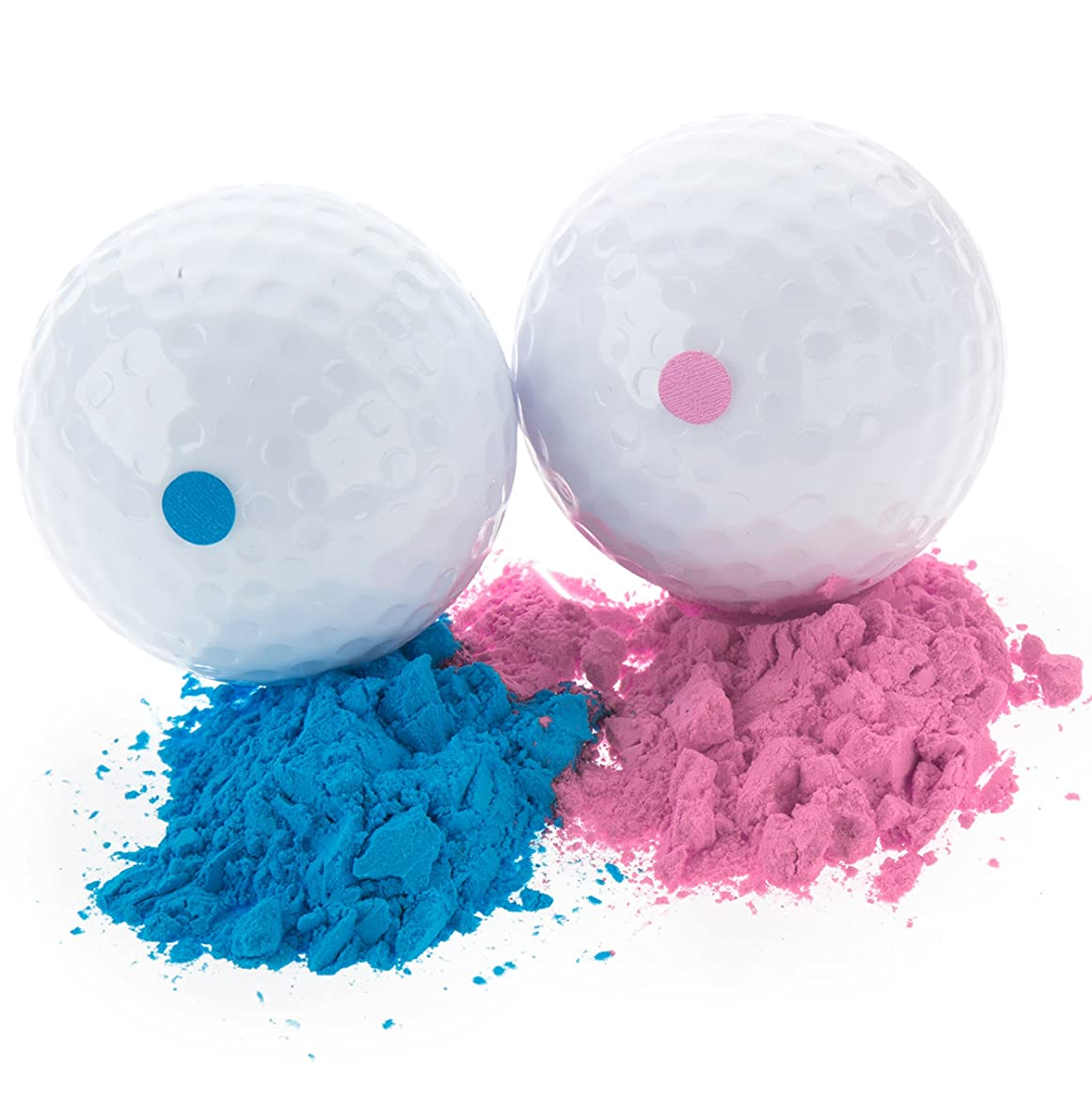 Baby Gender Reveal Exploding Golf Balls - Pink and Blue Set for Boy or Girl Gender Reveal Party (1 Pink Ball and 1 Blue Ball)