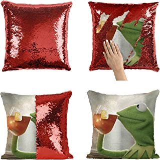Kermit Frog None of My Business Illustration_MA0826 Sequins 16x16 Pillow Cover with 18x18 inch Insert Girly Stuff Boys Xmas Present (Cover + Insert)