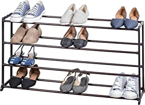 Richards Homewares 1000620 20 Pair Freestanding Shoe Rack-4 Tier-Non-Slip-Shoe Organizer Finish-Steel Textured Rods-Durable Plastic Frame-22.5W x 8.8D x 18.5H, Bronze