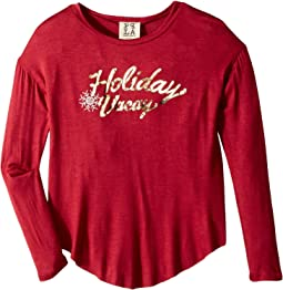 Vacay Foil Knit Long Sleeve Tee (Big Kids)