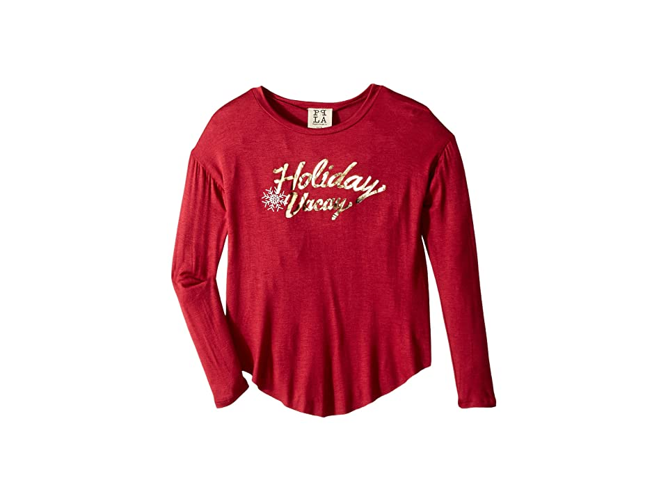 People's Project LA Kids Vacay Foil Knit Long Sleeve Tee (Big Kids) (Burgundy) Girl's Long Sleeve Pullover