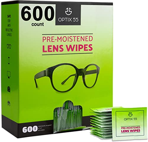 Eyeglass Cleaner Lens Wipes - 600 Pre-Moistened Individual Wrapped Packets in Hangable Box for Wall | Glasses Cleaner...