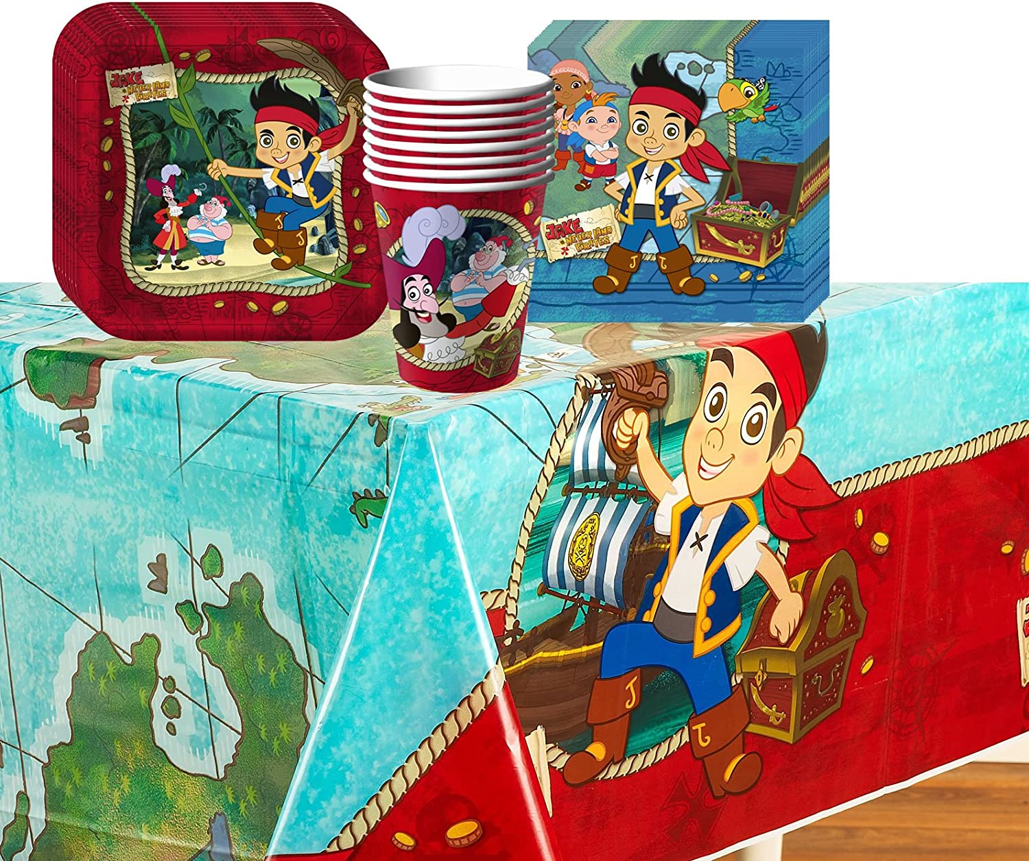 Disney Jake and the Never Land Pirates Party Supplies Pack for 8 Guests Incluides Plates, Cups, Napkins and Tablecover