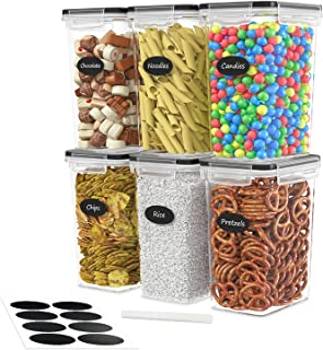 DWËLLZA KITCHEN Airtight Food Storage Container Set - 6 Pieces 2.0L - Plastic BPA Free Kitchen Pantry Storage Containers -...