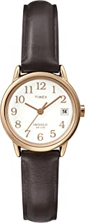Timex Women's T2P564 Easy Reader Rose Gold-Tone Brown Leather Strap Watch