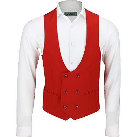Mens Double Breasted Low U Cut Formal Suit Waistcoat FittedSmart Casual Vest Red