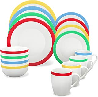 Vremi 16 Piece Dinnerware Set Service for 4 - Round Porcelain Dinner Plates Bowls Mugs and Dessert Dishes - Casual White Dinnerware with Colored Stripe Trim - Microwave and Dishwasher Safe