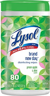 Lysol Disinfecting Wipes, Green Apple & Aloe, 80 Count
