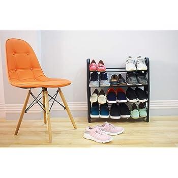Ebee Easy to Assemble & Light Weight Foldable 4 Shelves Shoe Rack (Iron)