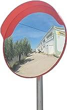 ECM-60-O2-o Espejo de seguridad, convexo, de color naranja, de 60 cm de diámetro, para garantizar la seguridad en calles y en tiendas, con soporte de fijación ajustable para poste de 60 mm