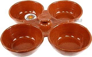 Salsero de Barro 4 in 1 Salsa Bowls Traditional Lead Free Clay Artisan Artezenia Molcajete Mexican Condiment Garnish Serving Bowls