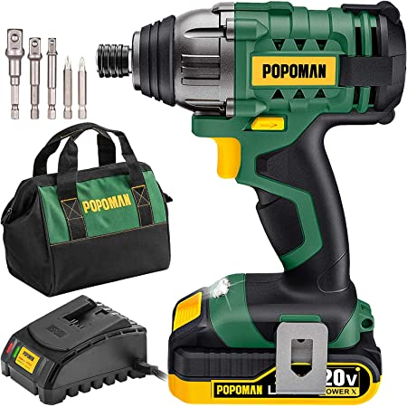 """Impact Driver Kit, 1600In-lbs/180N.m 20V Impact Drill, 0-2900RPM Variable Speed, Cordless Impact Driver 1/4"""" All-metal Hex Chuck, Fast Charger, Li-Lon 2000mAh Battery, LED light, 6 Pcs Accessories"""