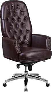 Flash Furniture High Back Traditional Tufted Brown Leather Multifunction Executive Swivel Ergonomic Office Chair with Arms