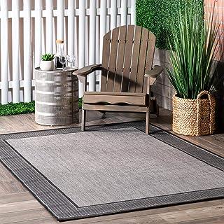 """nuLOOM Leila Bordered Indoor/Outdoor Area Rug, 7' 6"""" x 10' 9"""", Grey"""