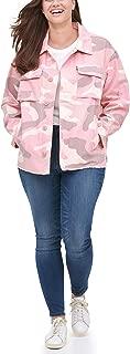 Levi's Women's Plus Size Cotton Printed High-Low Shirt Jacket