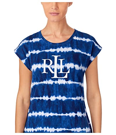 LAUREN Ralph Lauren Short Dolman Sleeve Lounge Tee (Blue Print) Women