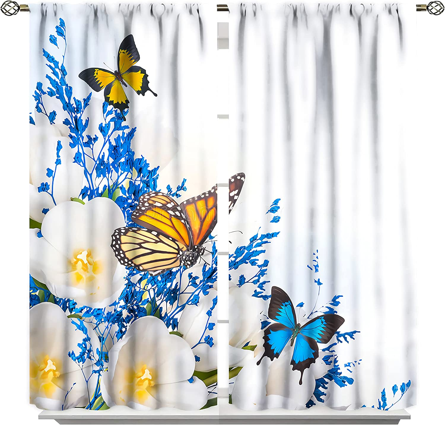 Butterfly Floral Popular overseas Curtains White Grass Flor Tulips Blue Limited price sale
