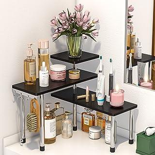 Bathroom Counter Organizer Corner Shelf - 3 Tier Bamboo Spice Rack Makeup Organizer Bookshelf Space Saving Rack Kitchen Ba...