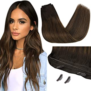 Sunny 12inch Brazilian Human Hair Halo Extensions Balayage Darkest Brown Mixed with Medium Brown Fish Line Hair Extensions...