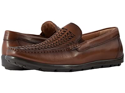 Florsheim Draft Moc Toe Woven Vamp Driver (Cognac Smooth) Men