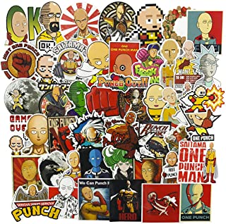 ONE Punch-Man Laptop Stickers for Laptop, Cool Japanese Anime Decal for Skateboard Guita Water Bottle Travel Case Motorcycle Bicycle 50pcs Set