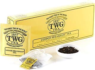 TWG Tea | London Breakfast Tea, blend de té negro en 15 bolsitas de algodón cosidas a mano en caja de regalo de 37,5g