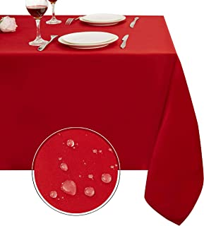 Obstal Rectangle Table Cloth, Oil-Proof Spill-Proof and Water Resistance Microfiber Tablecloth, Decorative Fabric Table Cover for Outdoor and Indoor Use (Rio Red, 60 x 120 Inch)