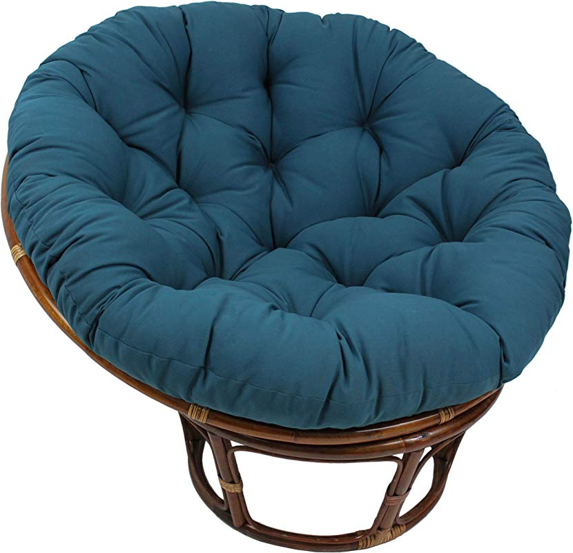 MISC 48 Inch Indigo Blue Papasan Cushion Only Cotton Rounded Tufted Chair Pad Floor Pillow Use Plush Indoor Thick Comfy Solid Color Polyester