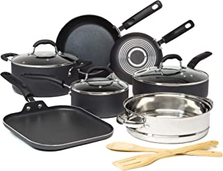 Goodful Premium Non-Stick Cookware Set, Dishwasher Safe Pots and Pans, Diamond Reinforced Coating, Made Without PFOA, 12-P...