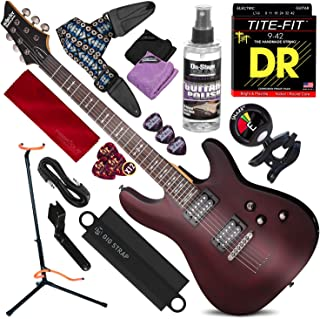 Schecter OMEN-6 6-String Electric Guitar (Walnut Satin) with Guitar Stand & Clip-On Tuner Deluxe Guitar Kit Bundle