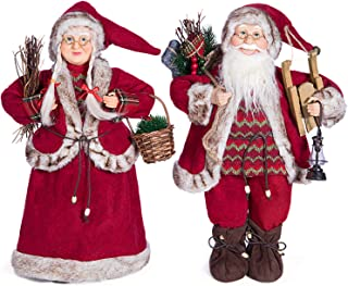 Yeeping Christmas Santa Figurines, Hand Crafted Santa Claus, 18 Inch, 2019 Style, Father and Mother Christmas, Christmas Decoration, Figure Decoration, Clothtique Santa, One Pair Two Figurines, Red
