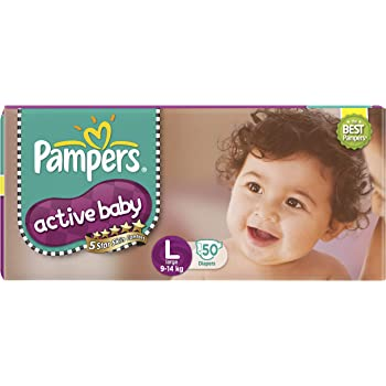 Pampers Active Baby Diapers, Large, 50 Count