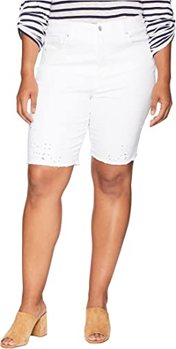 Plus Size Briella Shorts w/ Eyelet Embroidery in Optic White