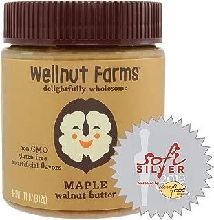 Wellnut Farms Rich and Creamy Low Sugar Walnut Butter, Maple, 11 Ounce
