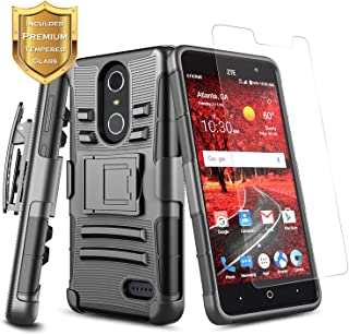 NageBee [Heavy Duty] Armor Shock Proof [Belt Clip] Holster Kickstand Combo Rugged Case w/ [Tempered Glass Screen Protector] for ZTE Blade Spark (Z971) / ZTE ZMax One (Z719DL) / Grand X4 (Z956) -Black