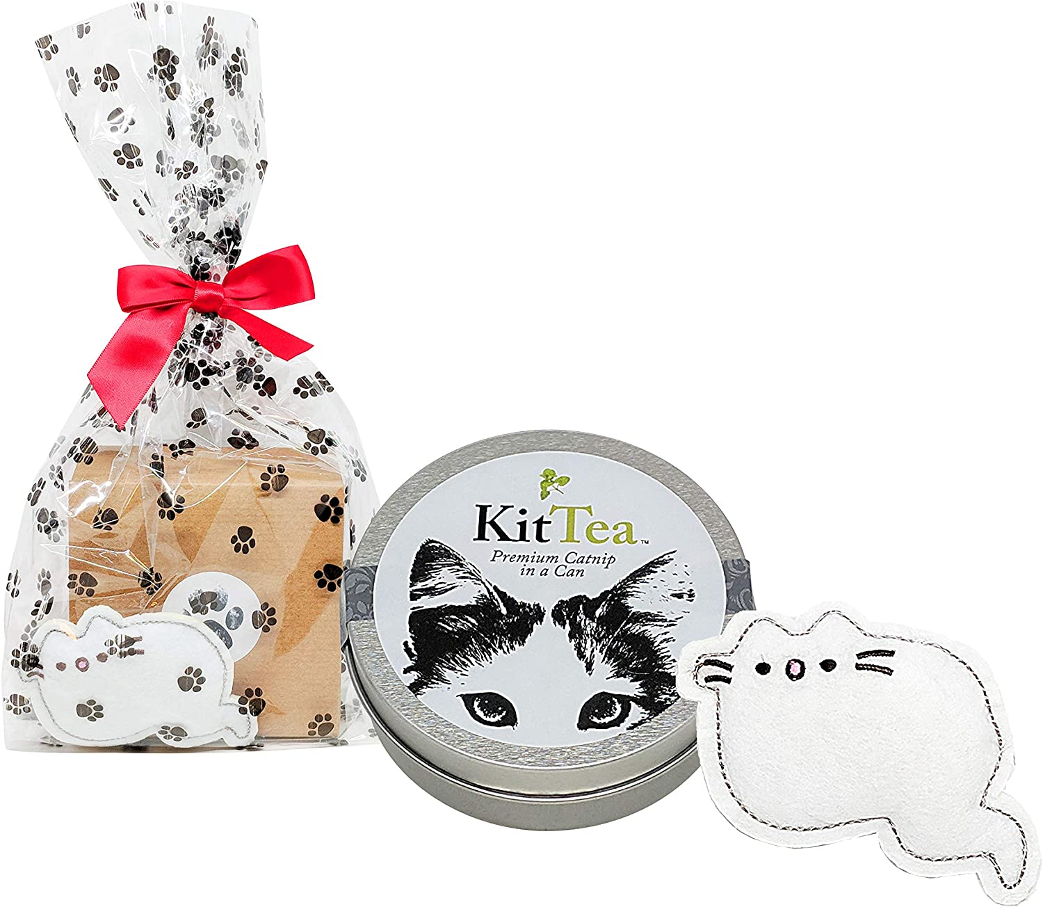 Pusheen Cat Toy and Can of Premium Catnip  Giftwrapped Cat Gift