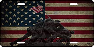 Rogue River Tactical WWII Iwo Jima National Memorial USA Flag License Plate Novelty Auto Car Tag Vanity Gift American Patriotic US