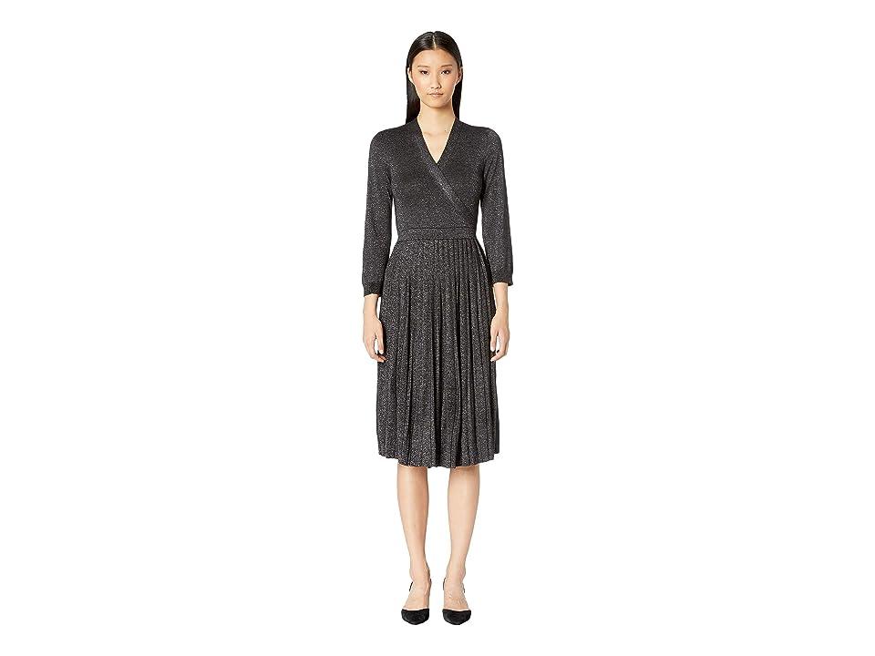 fa0a64bc81e Kate Spade New York Dashing Beauty Metallic Wrap Sweater Dress (Black) Women