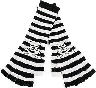 Hat To Socks Guanti Senza dita Lunghi a Righe con Teschi e Ossa Incrociate