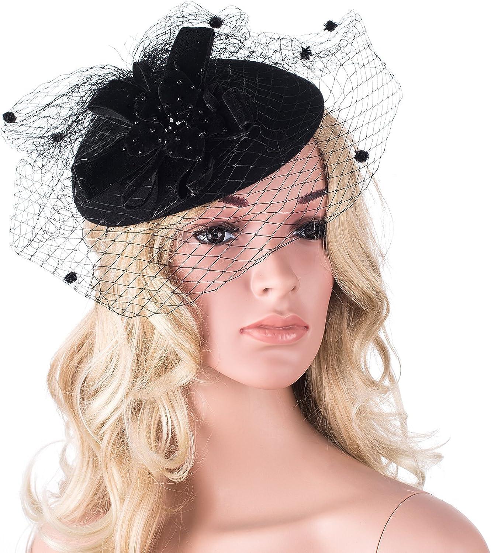 Womens Vintage Style Felt Wool Fascinator Cocktail Cheltenham Fesitval Hat A052 Black