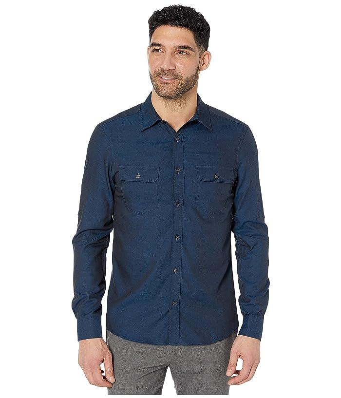 Perry Ellis  Slim Solid Twill Untucked Shirt (Classic Blue) Mens Clothing