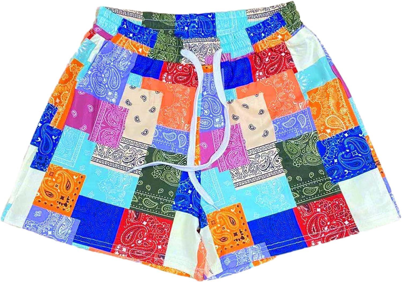 Corumly Ladies Shorts Summer Hawaiian Ethnic Style Personality Printed Casual Shorts