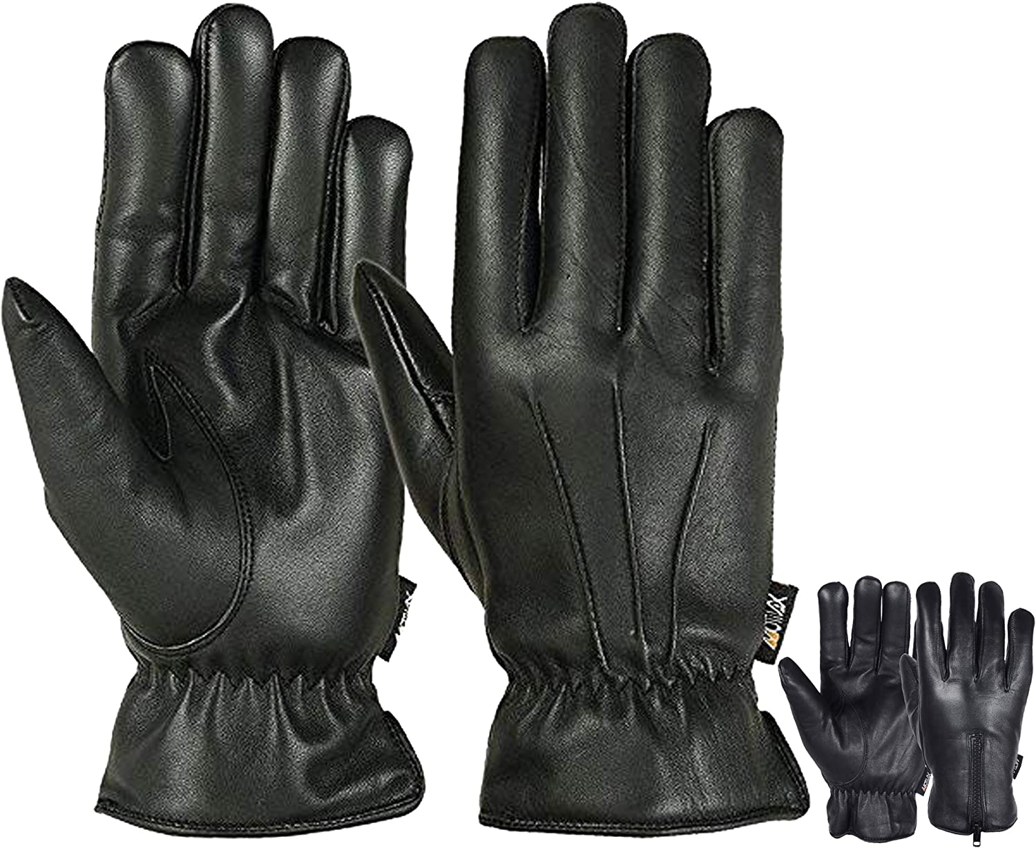 Mens Warm Winter Genuine Leather Gloves Motorcycle Driving Cold Weather Thermal Lining Glove