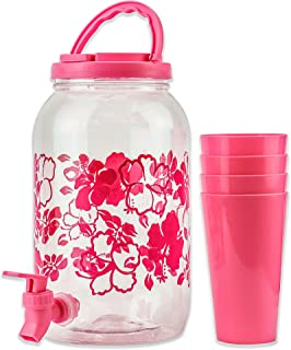 DecorRack Plastic Beverage Dispenser with Spigot and 4 Cups, Spout Jar for Cold Drinks Only, Portable 1 Gallon Container with Flip Cap for Parties, Picnic -BPA Free- Pink (1 Jar, 4 Cups)