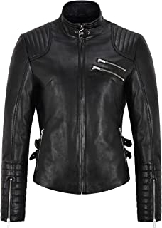 Ladies Leather Jacket Black Casual Tops Zipped Upper Genuine Leather Jacket 4952
