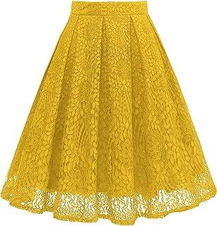 Women High Waist Pleated A-Line Knee Length Lace Pockets Skirt