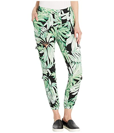 Chaser Heirloom Woven High-Waisted Snap Front Cargo Pants (Palm Print) Women