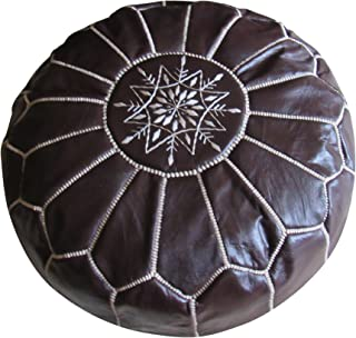 Marrakesh Gardens Unstuffed Genuine Leather Moroccan Hassock Pouf Pillow Cover, Authentic Handmade by Moroccan Artisans, Dark Brown